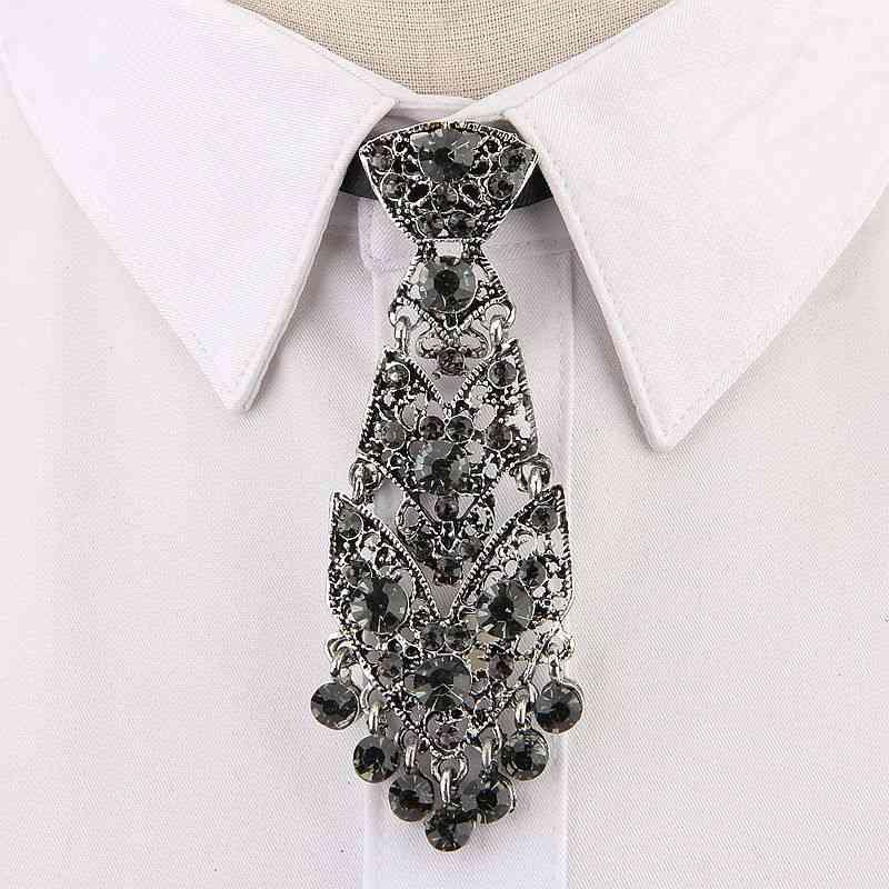 Fashion Personality Crystal, Neckties Metal Short, Luxury Tie