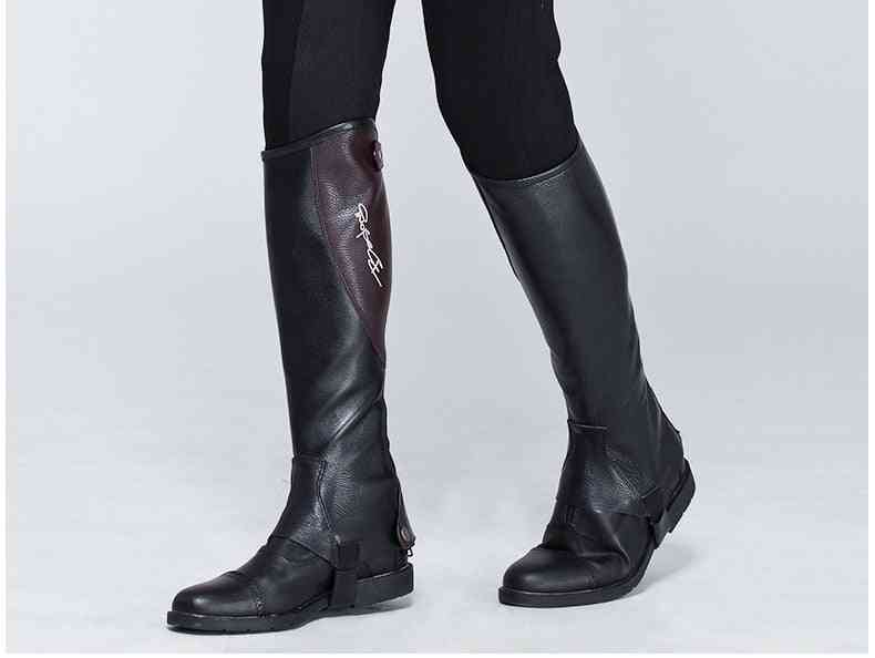 Full Soft Cow Leather Splicing Horse Riding Chaps, Body Protector Equestrian Equipment