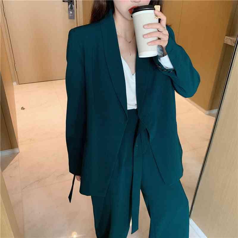 Women Blazer Set Lace Up Notched Blazer & Loose Pant