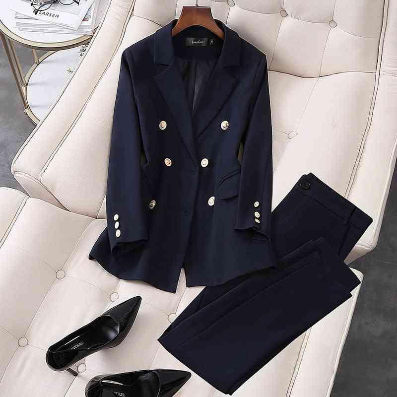 Women Elegant Office Work Wear Pant Suits, Double Breasted Blazer Jacket & Trousers
