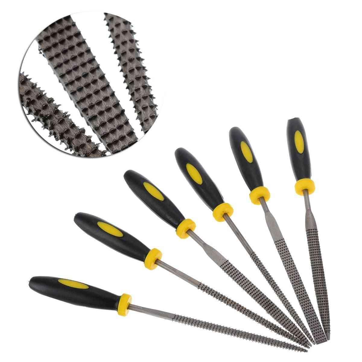 Small Wooden Rasp Set- Flat Round, Square, Triangle Halbrund Needle Tools