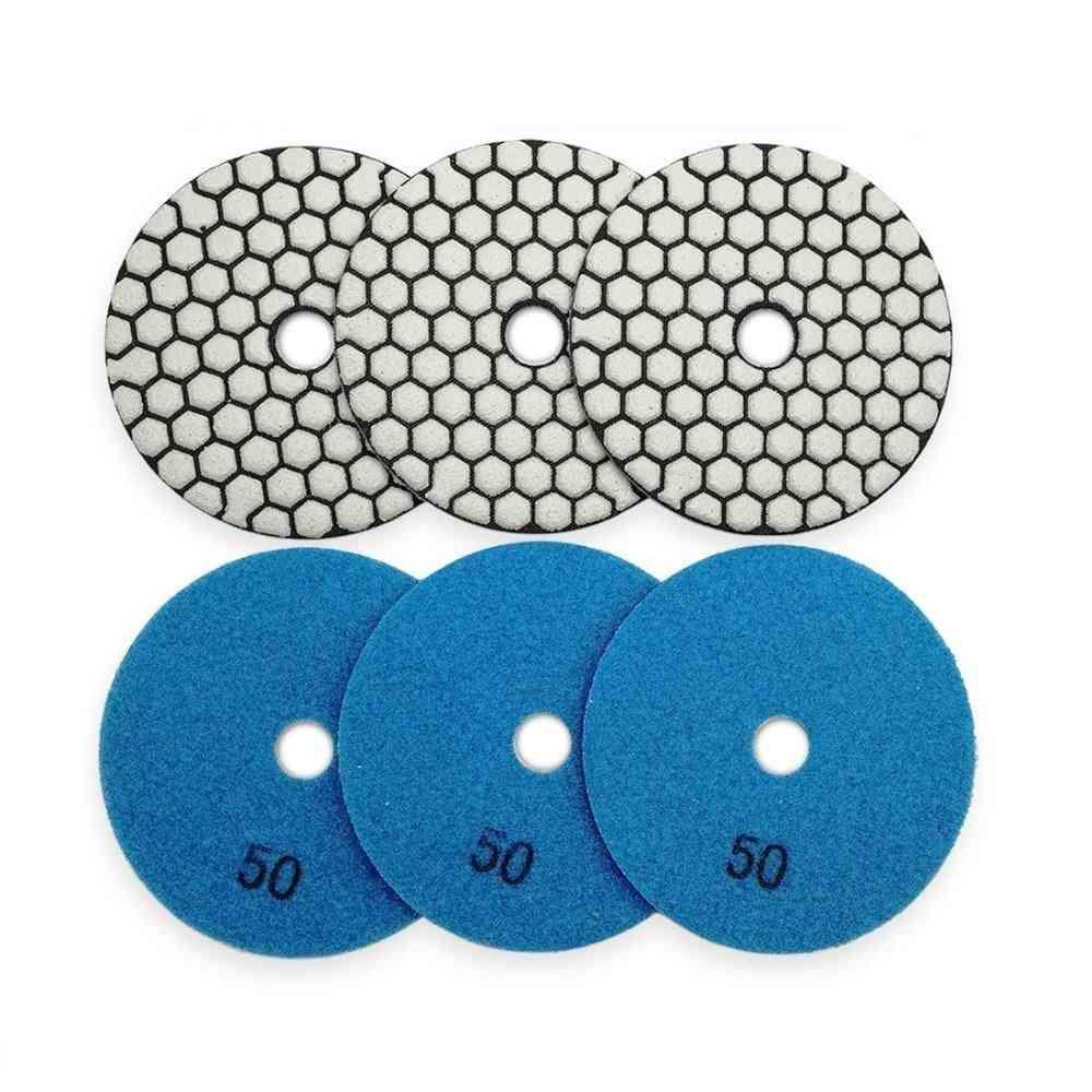 6pcs Diamond Flexible Dry Polishing Pad Resin Bond, Nylon Buckle Back