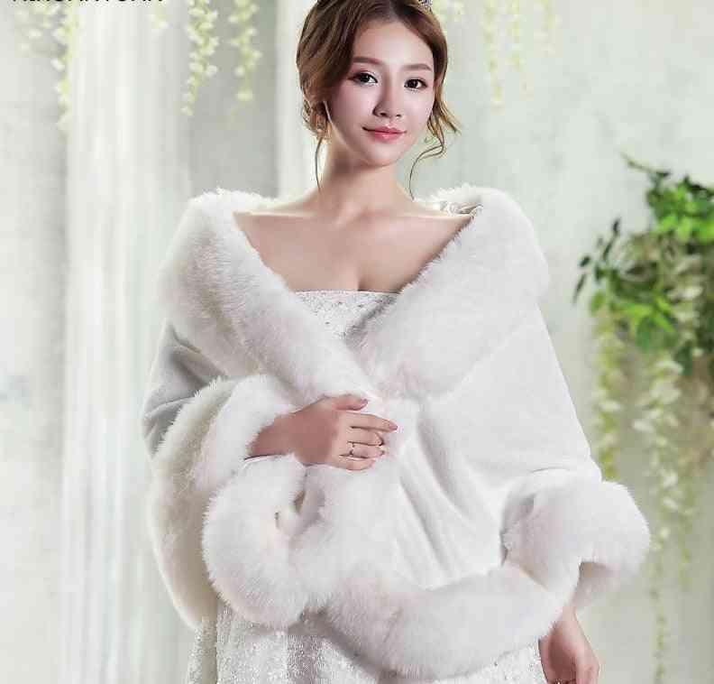 Winter Bridal Wedding, Shrug Faux Fur Shawls