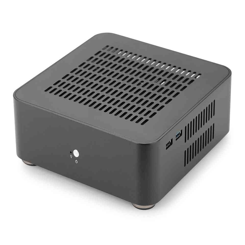 All Aluminum Chassis Small Desktop Computer Case Psu Htpc Mini Itx Pc Houses With Power Supply