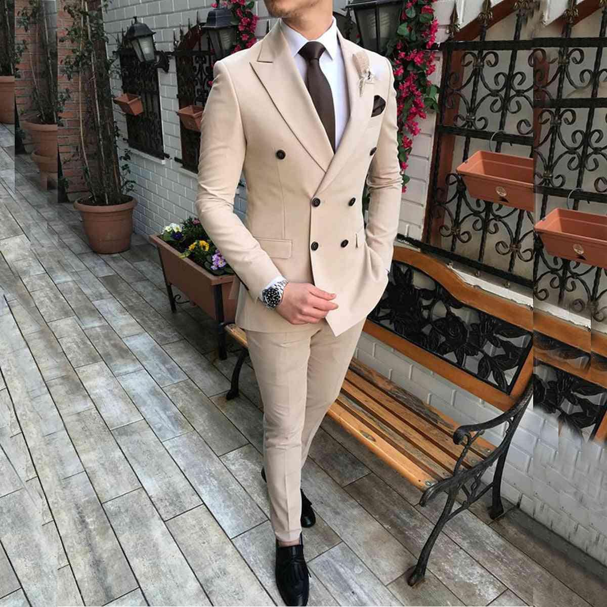 Double-breasted Notch Lapel Flat Slim Fit Men's Suit 2 Pieces