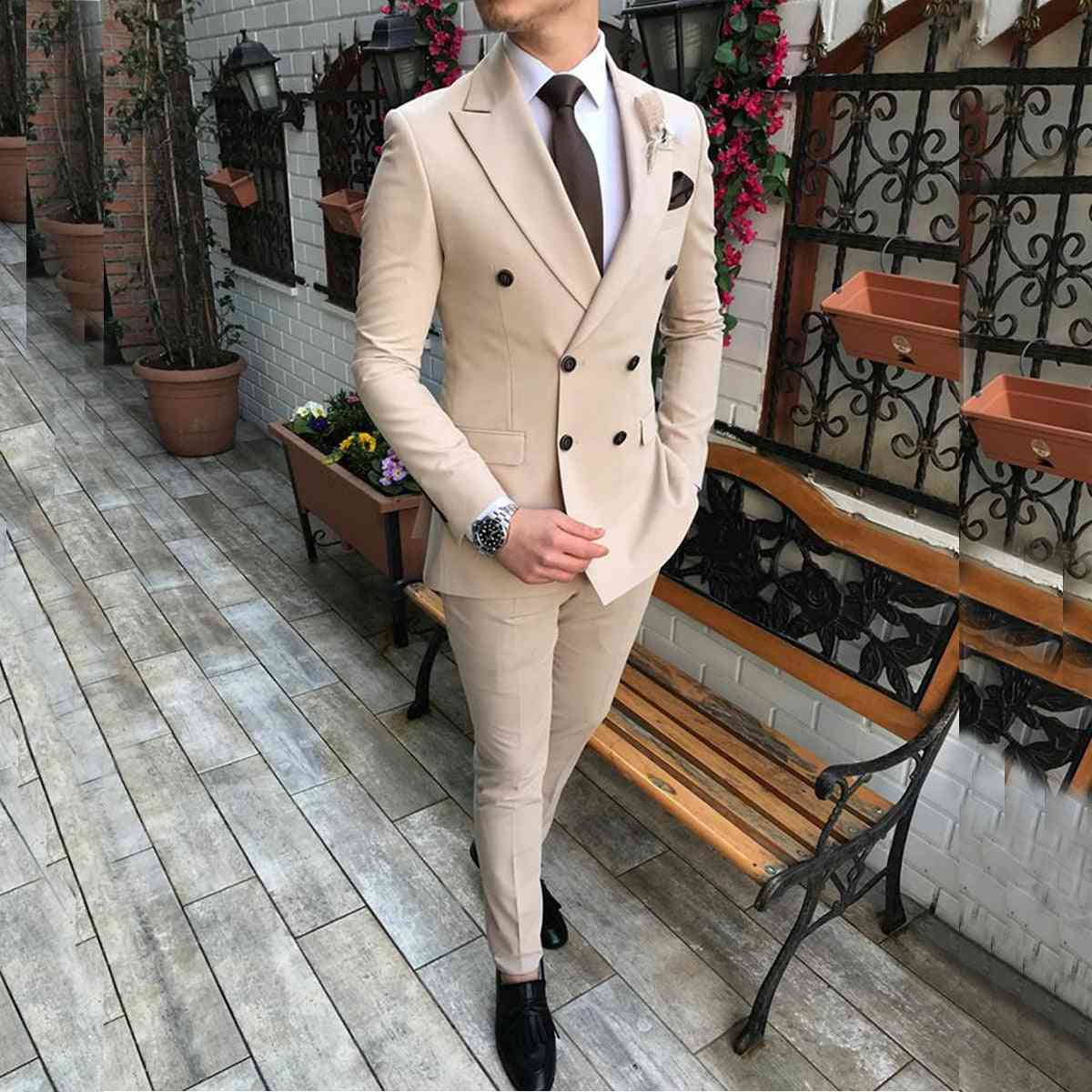 Men's Suit 2 Pieces Double-breasted Notch Lapel Flat Slim Fit Casual Tuxedos For Wedding