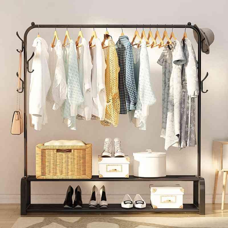 Floored Drying Rack, Pole Style, Coat Hanger Indoor, Metal Storage Wardrobe, Clothing Rack