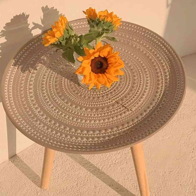 Creative Round Nordic, Wood Coffee Table, Storage Tea, Fruit Plate, Tray Home Table