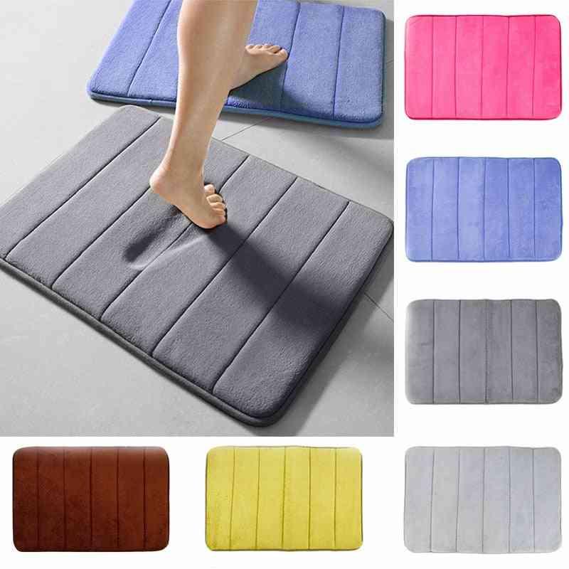 Home Bath Mat, Coral Fleece, Bathroom Carpet, Water Absorption, Non-slip