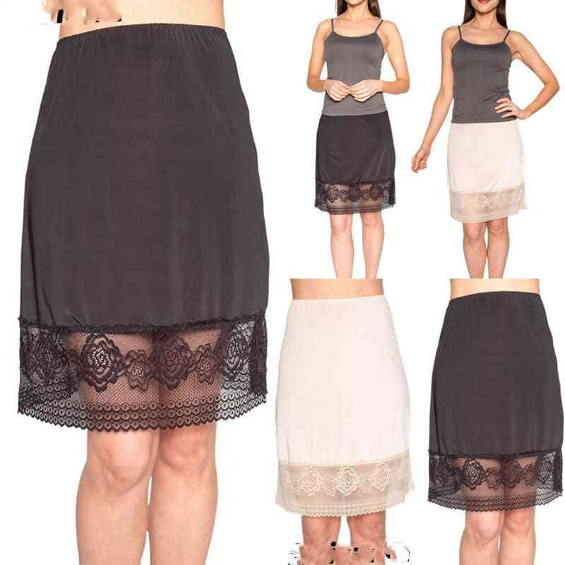 Fashion Underskirt Lace Up Mesh Spliced Solid Color High Waist Intimate Sheer Half Petticoat Slips