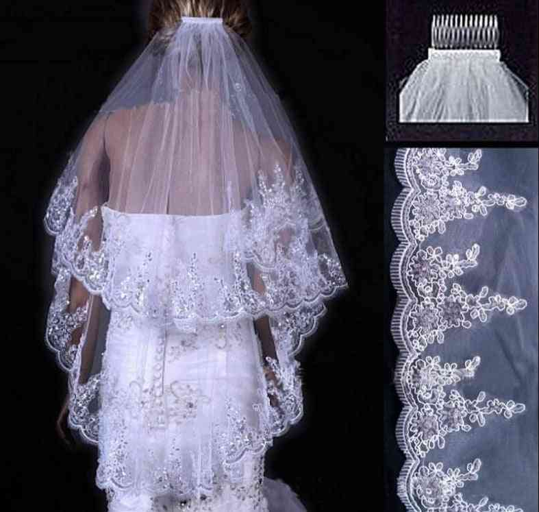 Two Layers, Short Tulle Wedding Veil