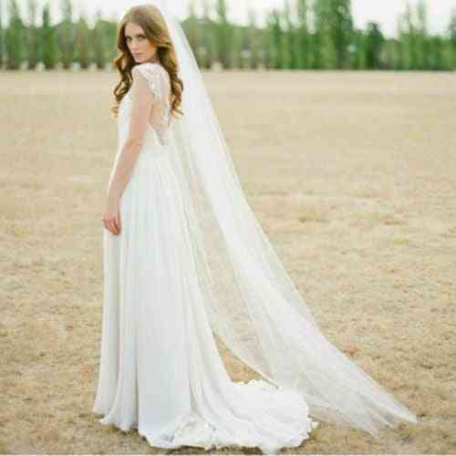 Cut Edge, One Layer Long Bridal Veils