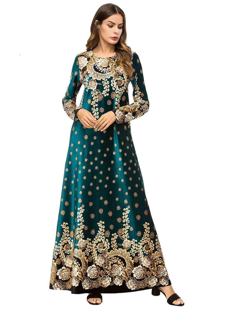 Embroidered Velvet, Indian Sari, Robe Dress