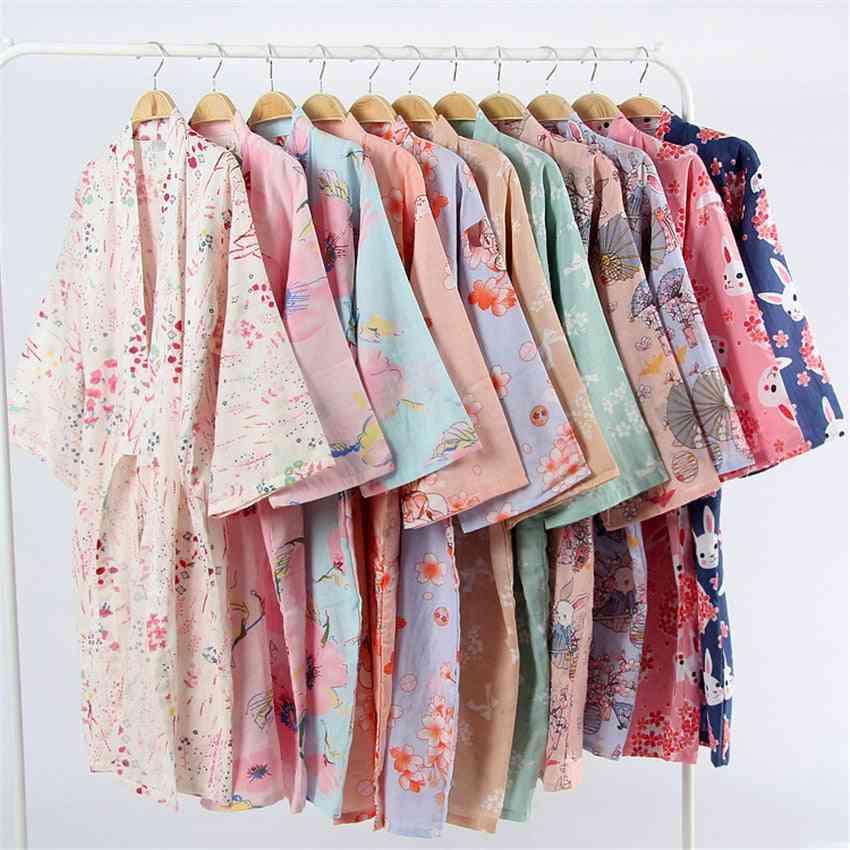Cotton Floral, Loose Long Sleepwear, Night Gown, Cardigan Bathrobe