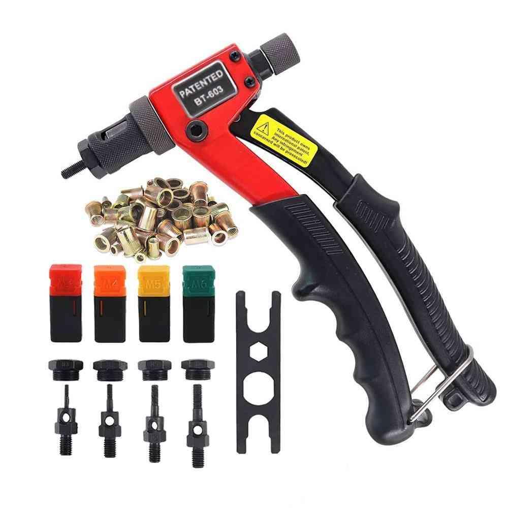 Manual Rivet Gun Kit- Hand Rivet Nut, Setter Riveter With Mandrels