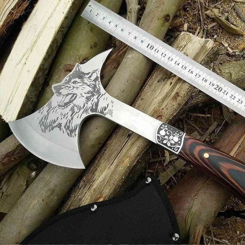 12 Inches Wolf Head Pattern-survival Tactical Axe For Camping