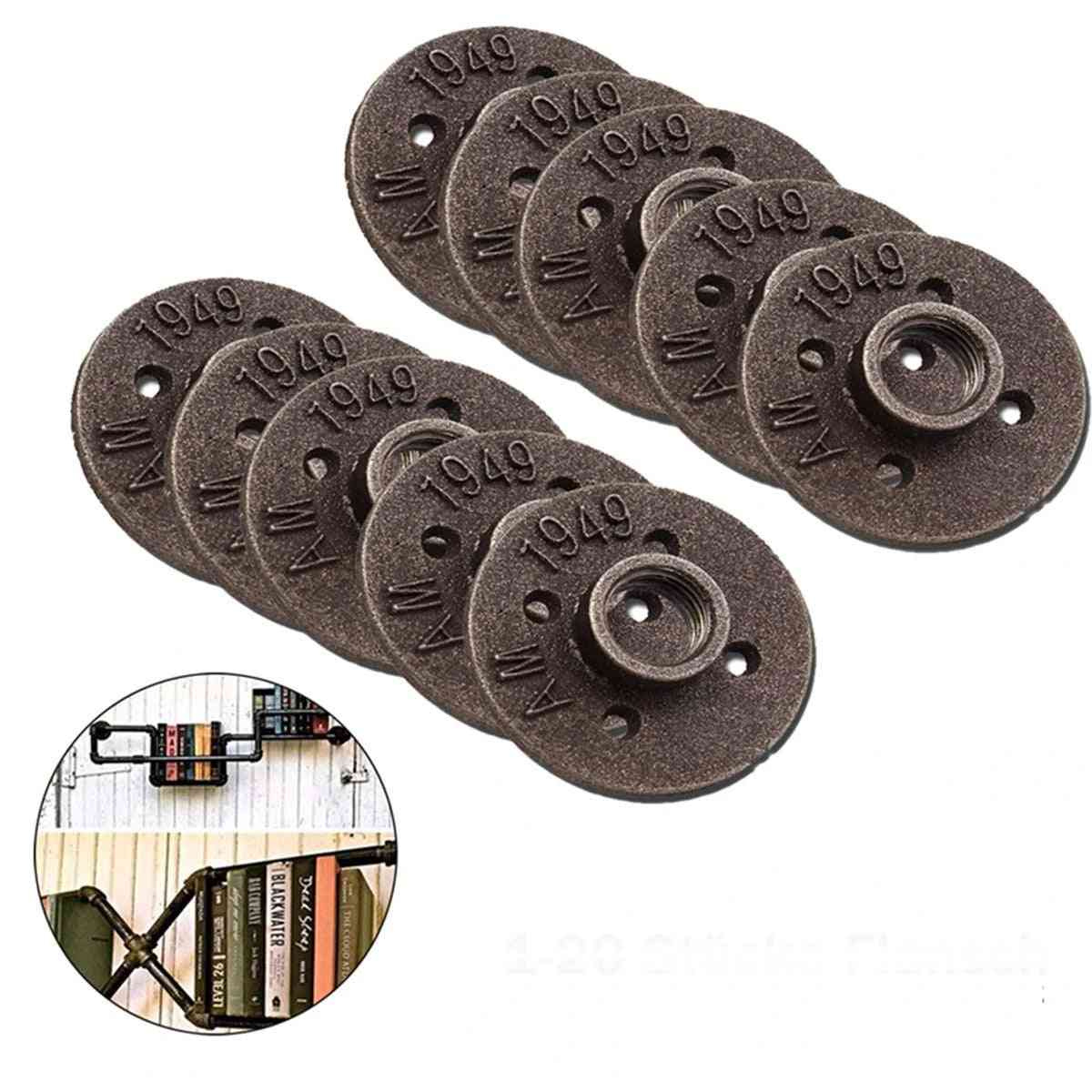 Flanges Iron Pipe Fittings Plumbing Wall Mount - Antique Piece Hardware Tool Cast Decorative