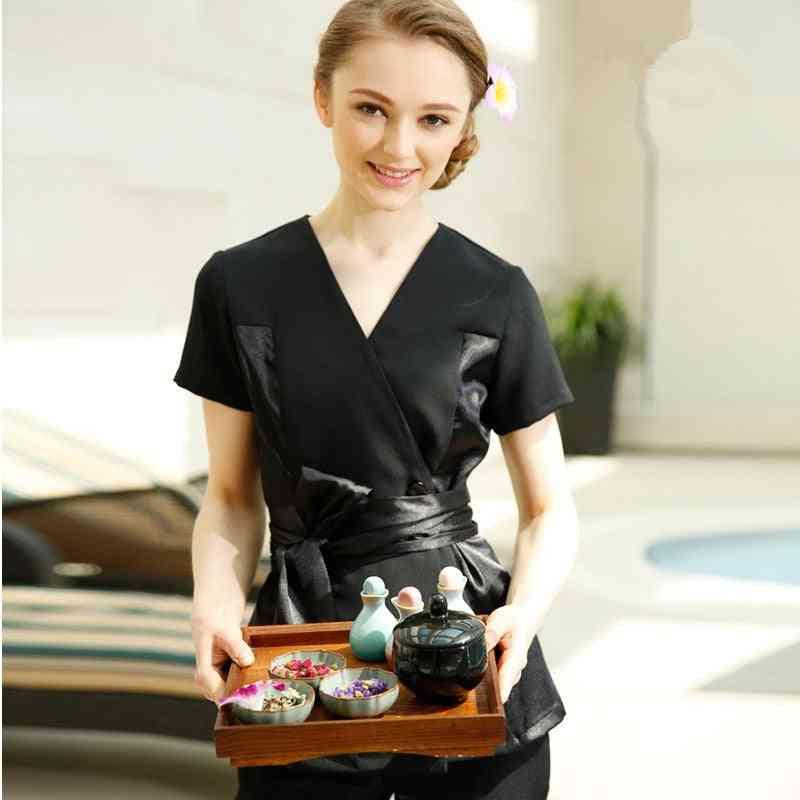New Black Patchwork Grace V-neck Blouse+pants Tea Hall Uniform Clothes