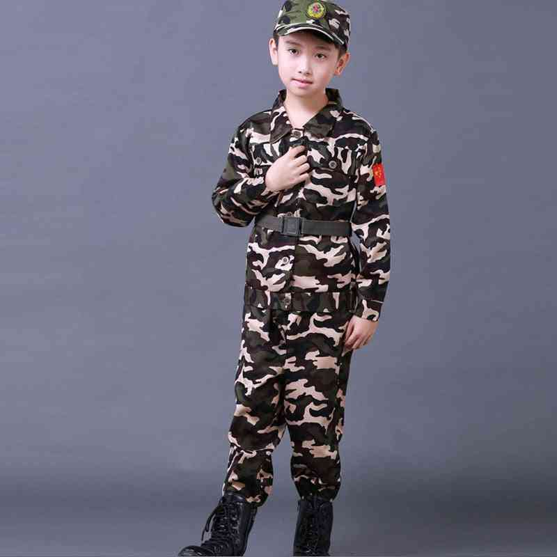 Halloween Fancy Army Soldier Cosplay Costumes Military Uniform Kids Training Jackets