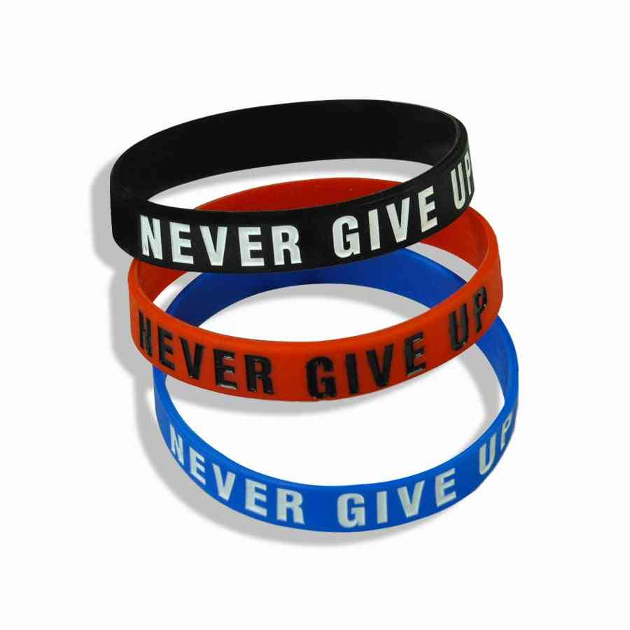 Inspirational Silicone Rubber Bracelet, Elastic Band Bracelets