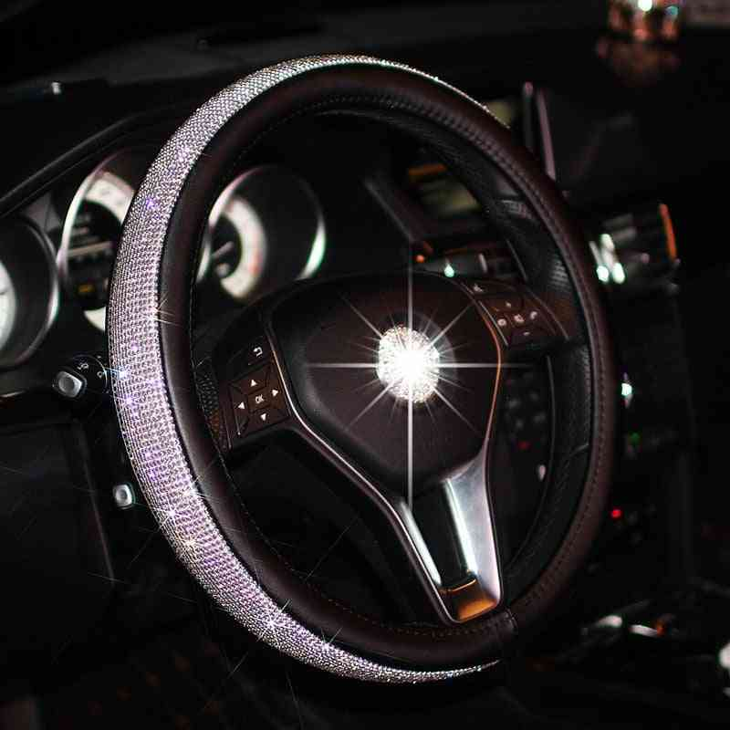 Crystal Car Steering Wheel Cover, Pu Leather Steering-wheel Covers Auto Accessories Case
