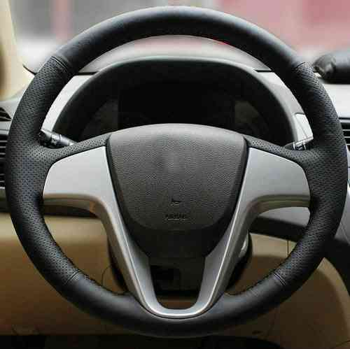 Genuine Leather Car Steering Wheels Cover For Hyundai Solaris  I25 I20 Accent Sedan Hatchback