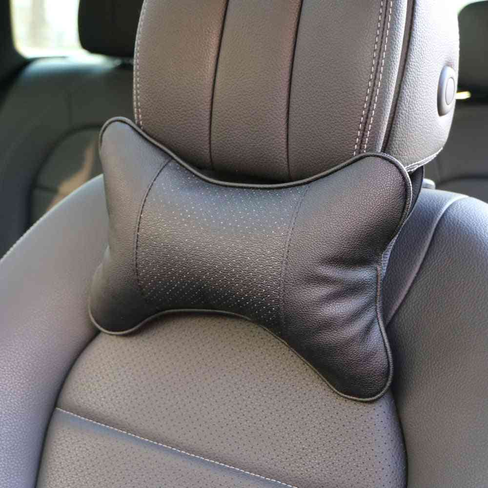Artificial Leather Car Pillow Protection Of Neck/ Headrest Hole-digging Design/ Safety Neck Pillow