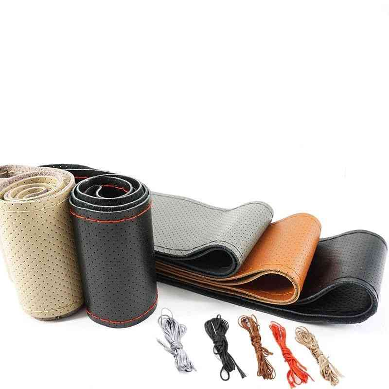 Leather Car Steering Wheel Cover Soft Anti Slip  Braid With Needles Thread 36 38 40 Cm Size
