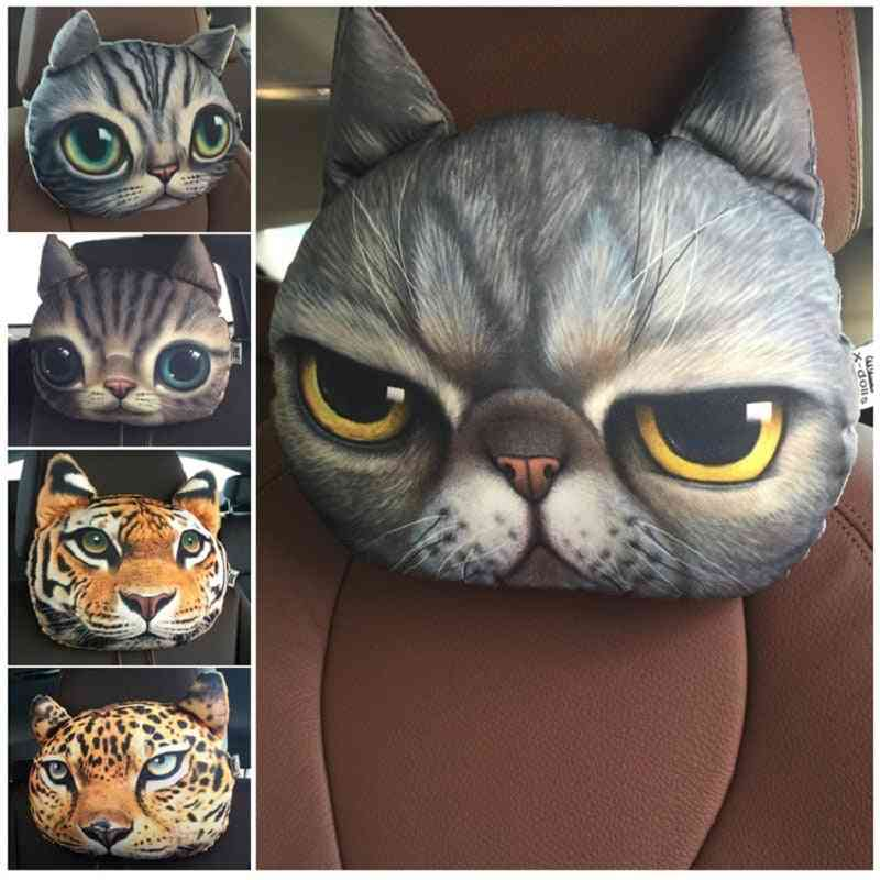 3d Printed Dog Cat Face Car Neck & Head Rest Auto Safety Cushion/ Support Headrest Without Filler