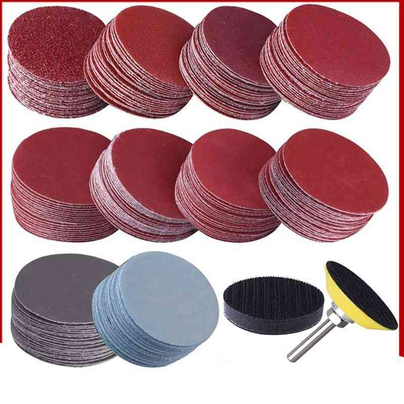 Sander Discs, 80-3000 Grit Paper With Abrasive Polish Pad Plate & Shank For Rotary