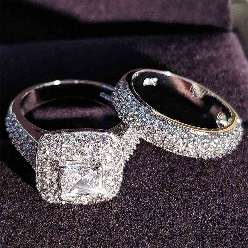 Sterling Silver Wedding Ring Set, Band For Bridal And Women, Love Couple Pair Jewelry