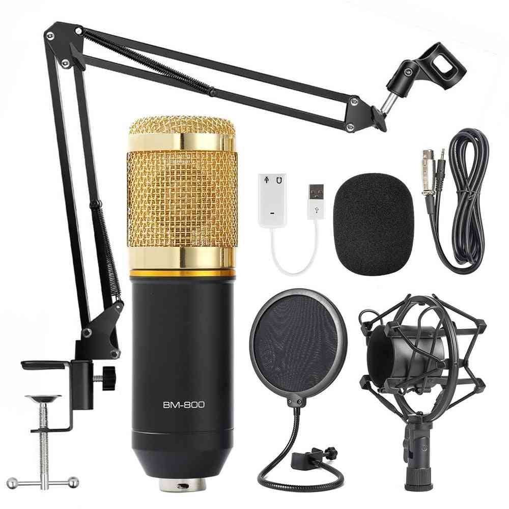 Bm800 Condenser Microphone Professional Voice Recording For Phone Pc Kits Karaoke Sound Card