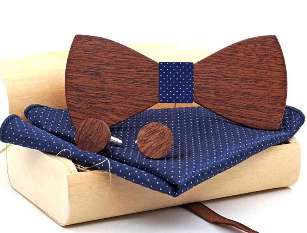 Wood Bow Tie, Butterfly Cravat Party Ties