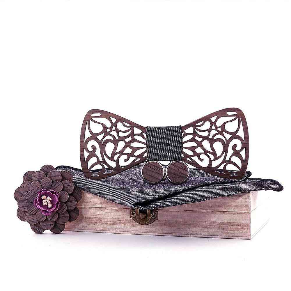 Wooden Bow Ties, Gentleman Groom Wooden Neckties Butterfly