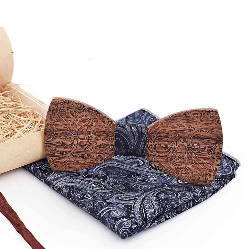 Wooden Mens Bow Tie, Handkerchief Cufflinks Gravatars Ties Wedding