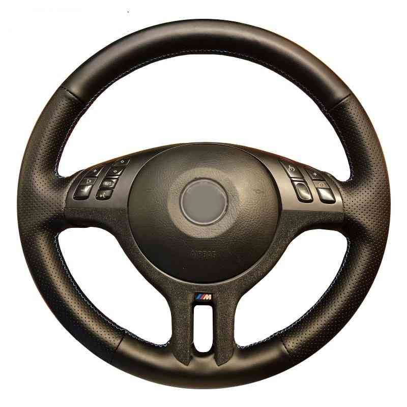 Hand-stitched Black Artificial Leather Car Steering Wheel Cover