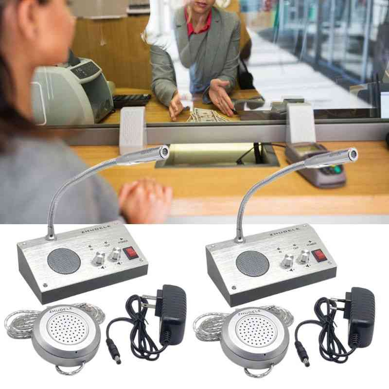 Dual Way Window Intercom System For Bank Counter, Interphone Zero-touch