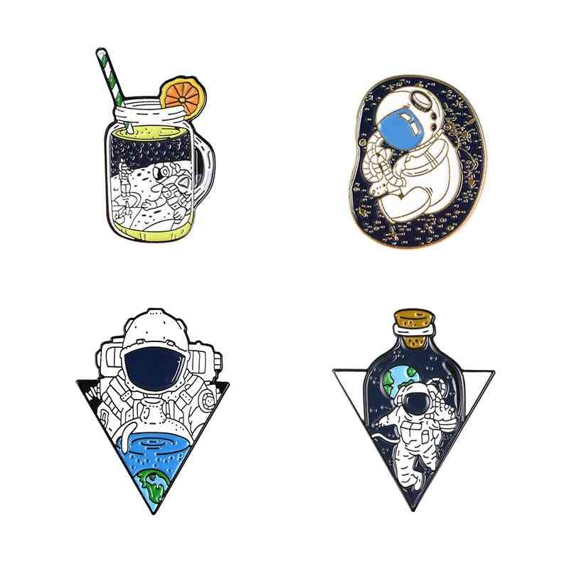 Space Travel Enamel Pin, Brooches Bag Clothes Lapel Cosmic, Badge, Jewelry