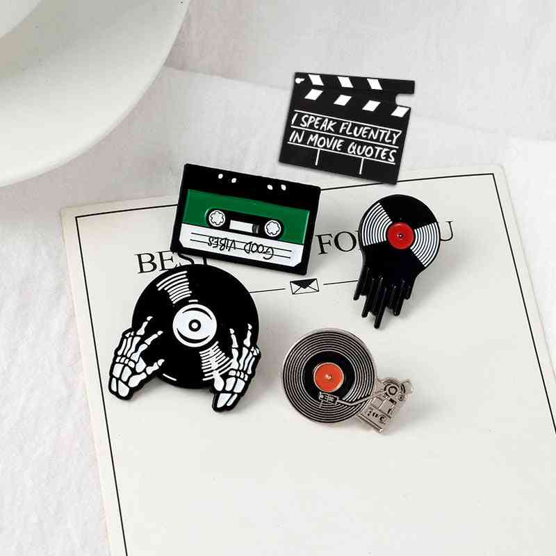 Music Lovers Enamel, Good Vibes Tape, Record Player Badge, Brooch Jeans Shirt Pin