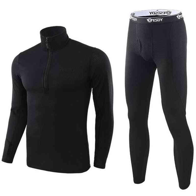 Men Winter Thermal Underwear Fleece Sweat Tight Fitness Set