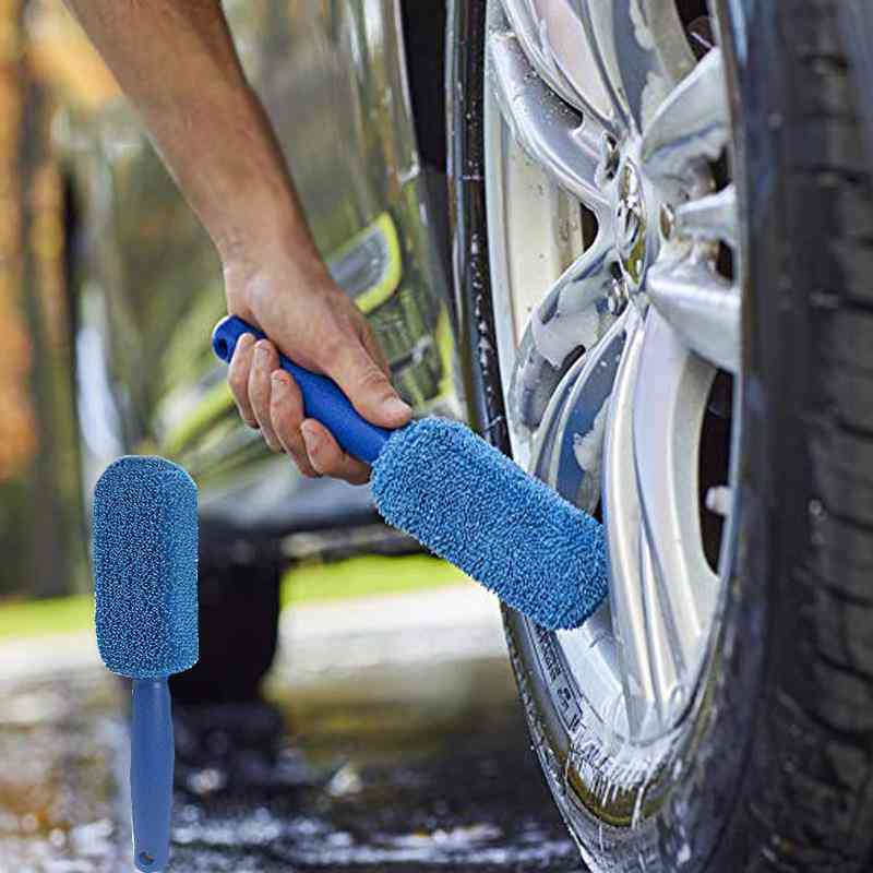 Car Window Rims Tire Washing Brush, Plastic Handle Cleaning Tool