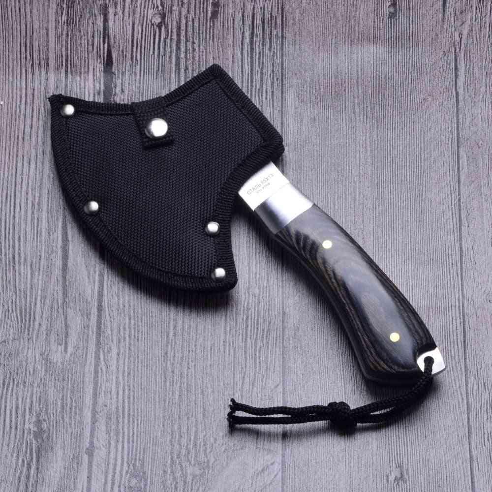 Wood Handle Sharp Survival Tomahawk Outdoor Machetes Steel Tactical Axe