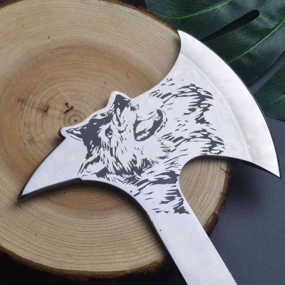 Wolf Print Wood Handle Multifunctional Outdoor Mountain Camping Axe