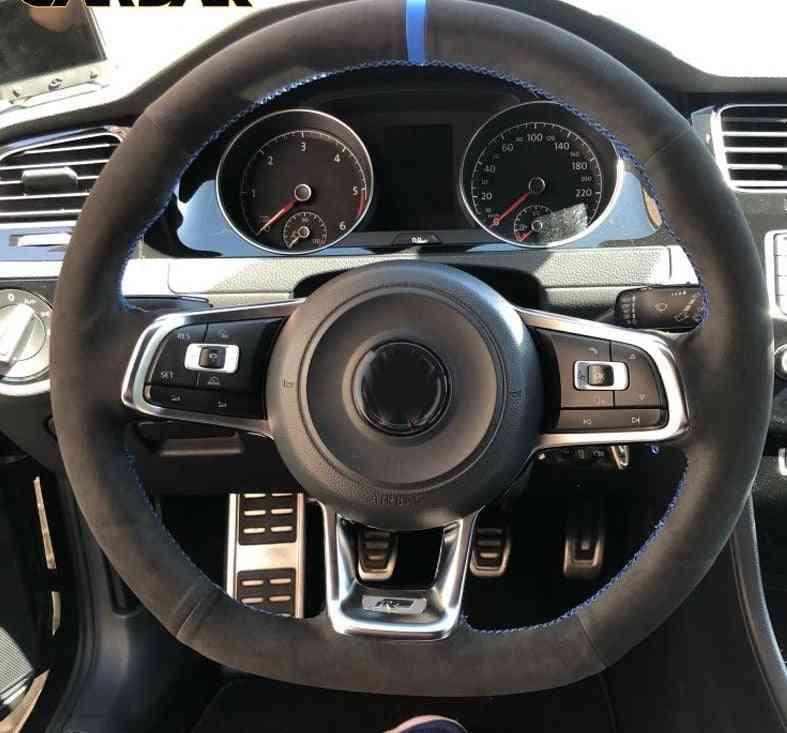 Cardak Carbon Fiber Black Suede Car Steering