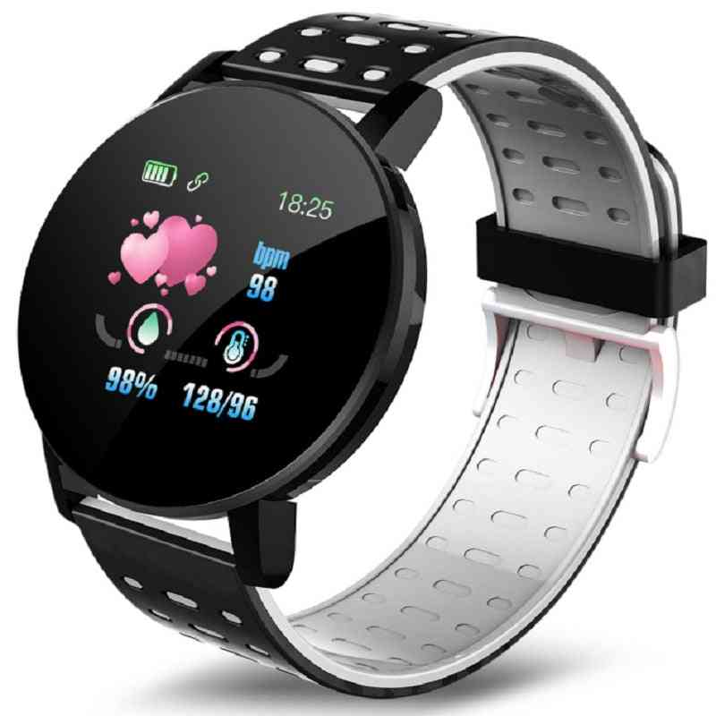 Smart Watch Blood Pressure Round Bluetooth Heart Rate Waterproof Sports Tracker With Alarm