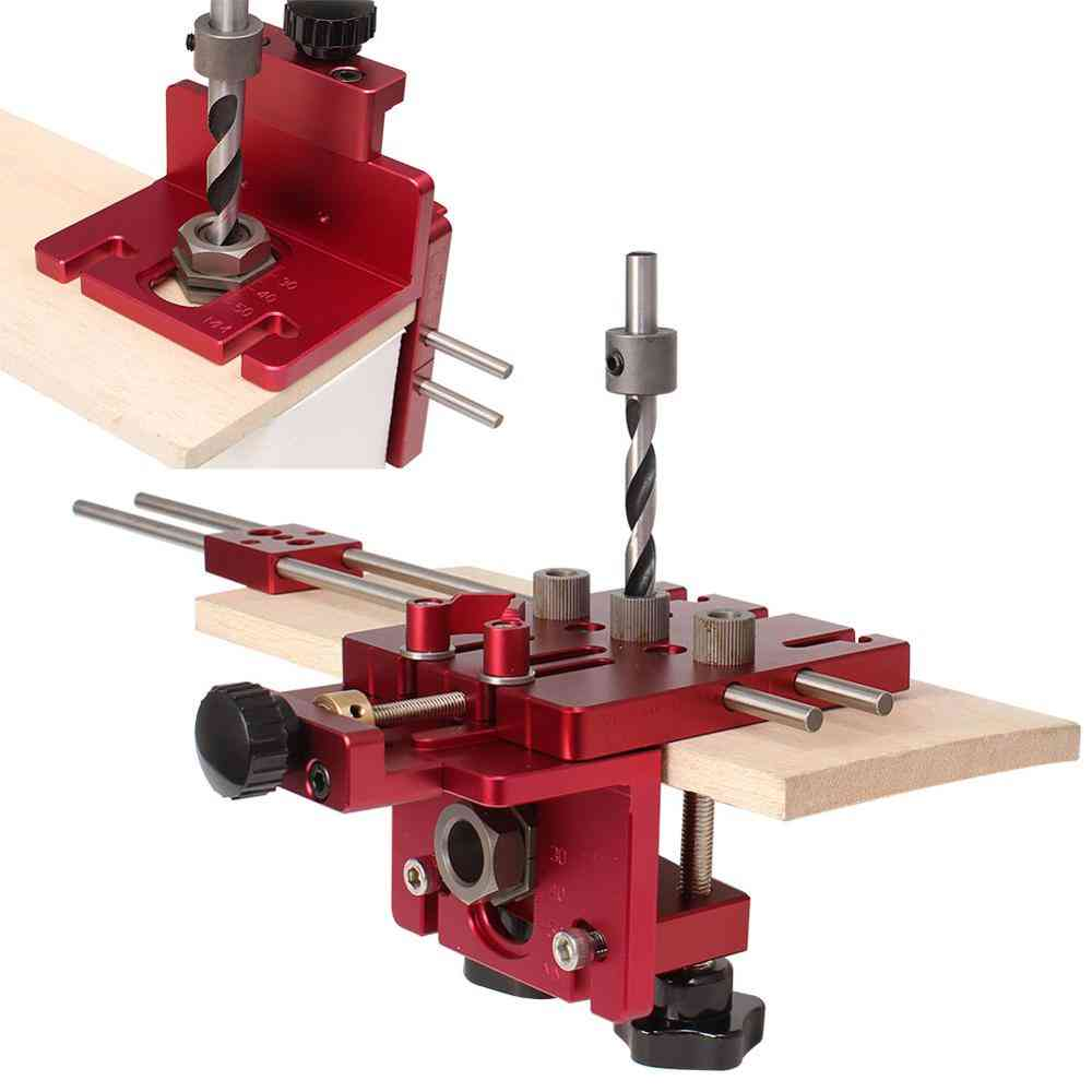 3 In 1 Woodworking Hole Drill Punch Positioner Guide Locator, Jig Joinery System Kit