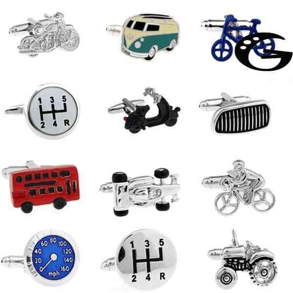 Vintage Bus Cufflinks, Novelty Traffic Car Design, Brass Material