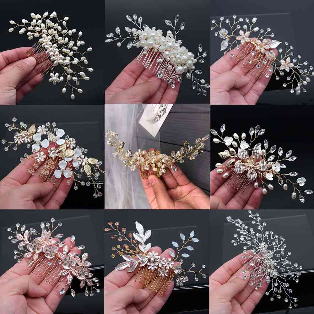 Crystal Peals Hair Combs, Wedding Clips Accessories, Jewelry Handmade, Women Ornaments Headpieces