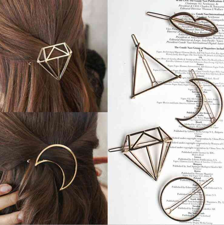 Metal Leaf Hair Clip, Barrettes Hairpin, Claws Women, Trend, Charm Moon Round, Triangle
