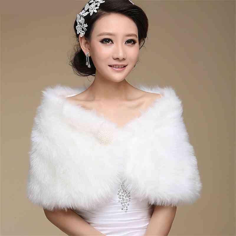 Faux Fur Wrap Shawl, Bridal Jacket / Coat